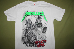 Gusanobass Playera Rock Metal Metallica Justice Blanca X L