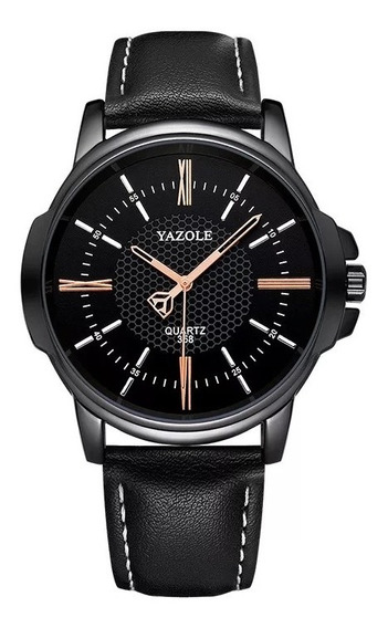 Relógio Masculino Yazole 400 Luxo Puls De Couro Lançamento