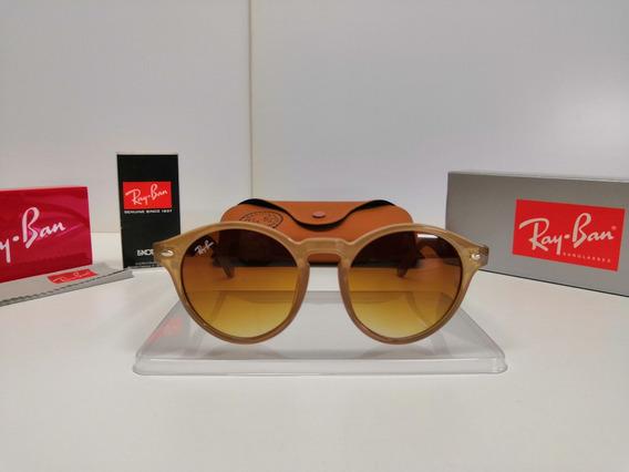 Óculos Sol Ray-ban Rb2180 Round Nude Lentes Marrom Degradê