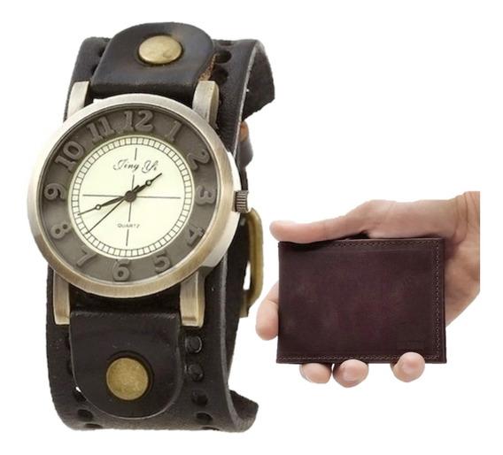 Kit Relógio Masculino Top Vintage Couro + Carteira Slim Mini