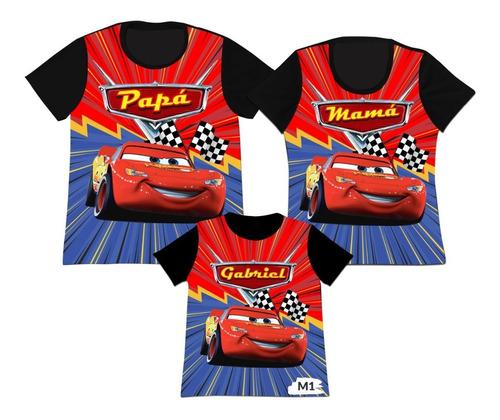 Camiseta Set 3 Familia Mama Papa Hijo Cars 3 Mcqueen Mc Quee
