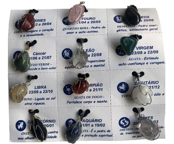 12 Colares Cordão Pedras Signos Significados. Ref: 523