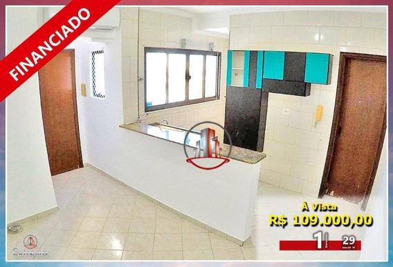 Kitnet Com 1 Dormitório À Venda, 29 M² Por R$ 109.000,00 - Tupi - Praia Grande/sp - Kn0177