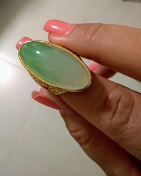 Maravilhoso Maxi Anel Feminino Aro 17 Pedra Verde Água Biju De Luxo / Moda Blogueira
