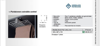 Pantalonero Central Hafele 805.93.241 Extraíble Para 11 U