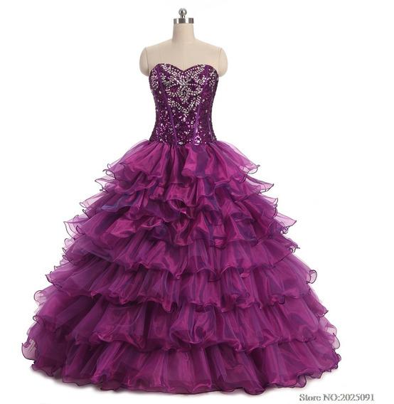 Vestido De Xv Años 15 Quince Dulces 16 Morado Envio Gratis