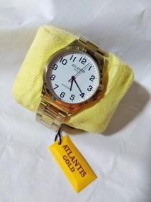 Novo Relógio Masculino Dourado Atlantis G3469original