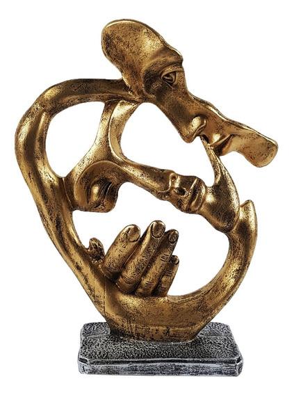 Estatua Face Dourada Resina Decoração Rosto Homem E Mulher