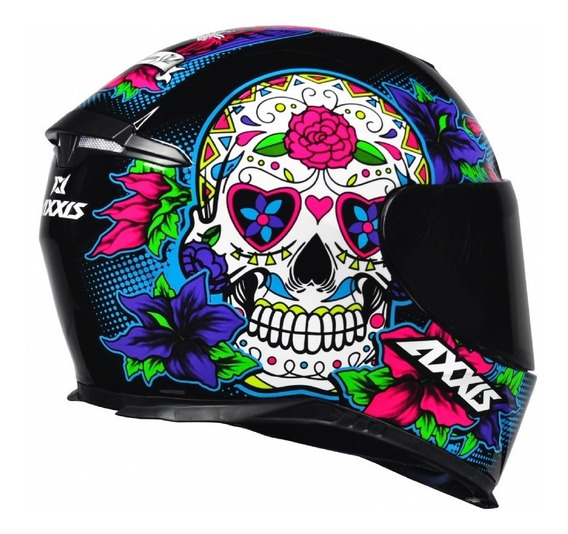 Capacete Axxis By Mt Skull Caveira Azul Mexicana