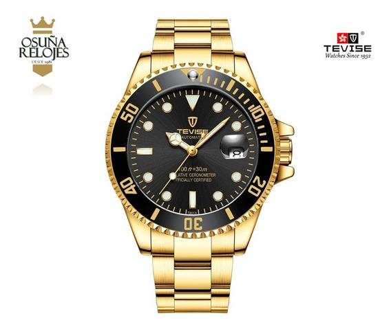 Relógio Masculino Luxo Original Dourado Prata Automático