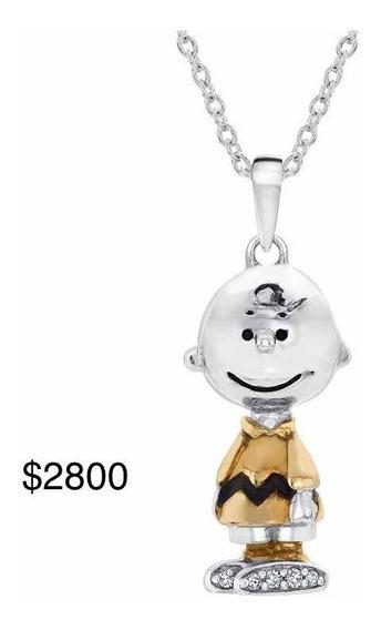 Snoopy Peanuts Charlie Collar Oro Blanco 14k