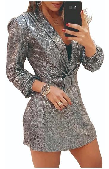 Vestido Mini Blazer Elegante Lentejuelas Plateadas Cuello V