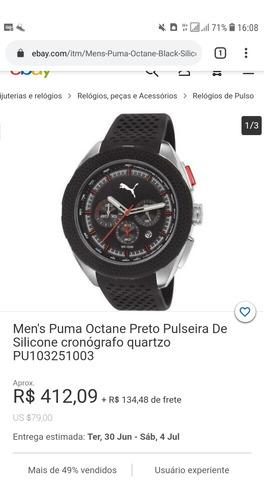 Relogio Puma Octane 9606gopmnu2 Aco Pulseira Silicone 48mm