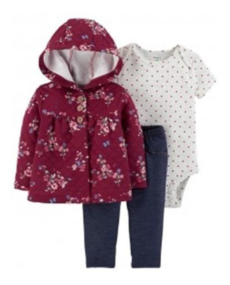 Carters Kit Calça Body Casaco Grosso Roupa Para Bebe Menina
