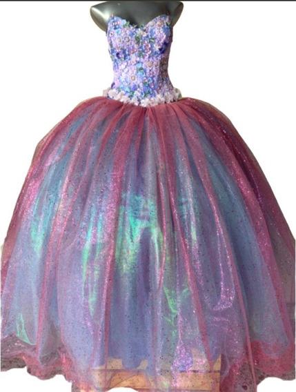 Vestido Quince Xv Años Rosa Y Azul +corset Floreado Y Falda