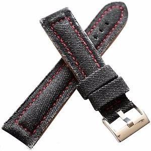 Pulseira Couro Jeans Preto 22mm Cost Vermelha Vintage Tecido