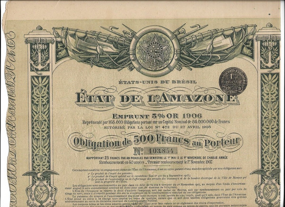 1906-500 Franc-documen-antigo-raro-state Of The Amazon-3ling