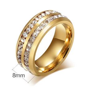 Anel Dourado Ouro Brilhantes Cristais Luxo 19, 21, 24