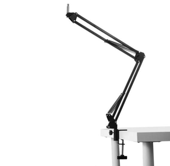 Suporte Para Microfone Metal Pedestal Mesa Articulado Preto