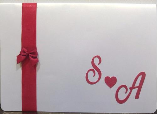 Imagem 1 de 3 de 20 Convite Casamento Altar 3d - Branco Perolado E Vermelho