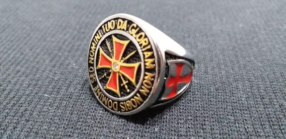 Anel Templario Cruz Vermelha Em Aço Maciço
