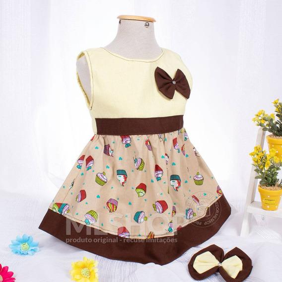 Vestido Infantil Menina Palha Estampado Cupcake Lindo