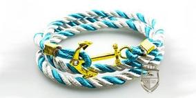 Pulsera Brazalete Ancla Oro Azul/blanca Hombre Caballero
