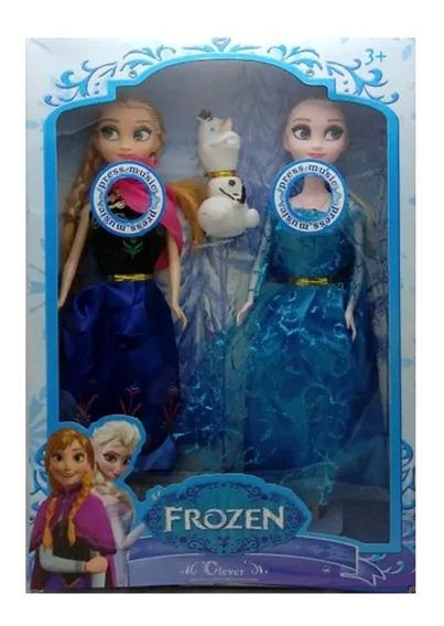 2 Bonecas Frozen Disney Elsa E Anna C/ Olaf Cantam Let It Go