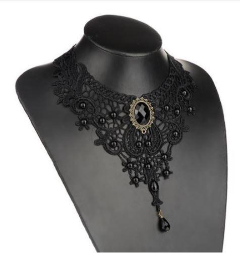 Collar Choker Gargantilla Color Negro De Encaje
