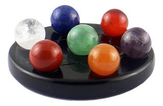 7 Bola De Piedra Cristalina Natural + Obsidiana Negra Base