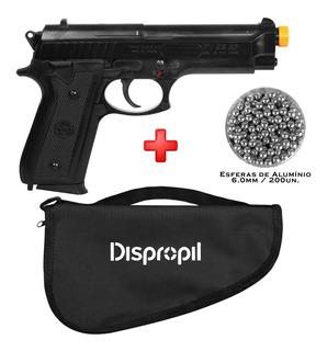 Pistola Airsoft Taurus Pt92 + Capa + Esferas Alumínio 6mm