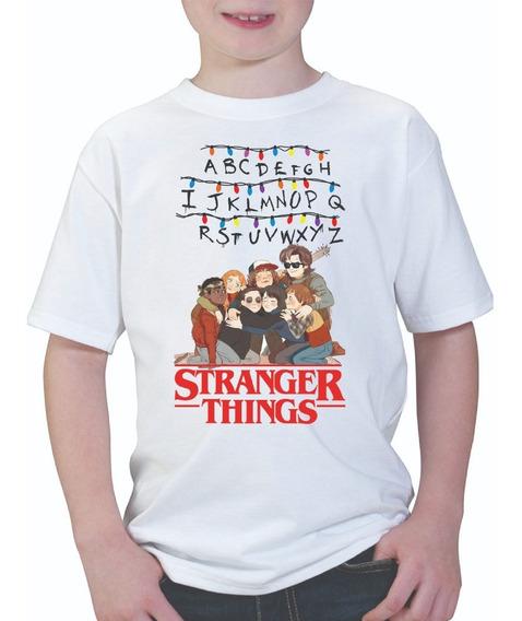 Playera Infantil Unisex Stranger Things Personajes Alfabeto