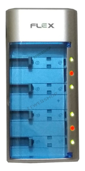 Carregador De Pilhas Flex Aa Aaa C D 9v Universal Led Fx C06