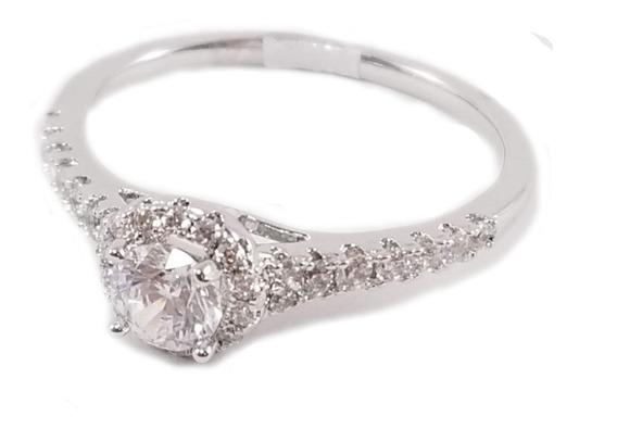 Anillo Elegante Compromiso Zirconia Diamante Rodio