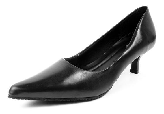 Sapato Feminino Scarpin Salto Baixo Muito Confortável Couro Legítimo Todo Espumado Ideal Para Trabalhar Marca Pierrô