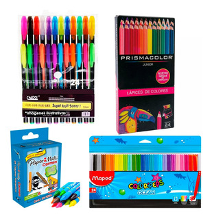 Kit De 24 Prismacolor Junior +plumas Gel +plumones +crayolas