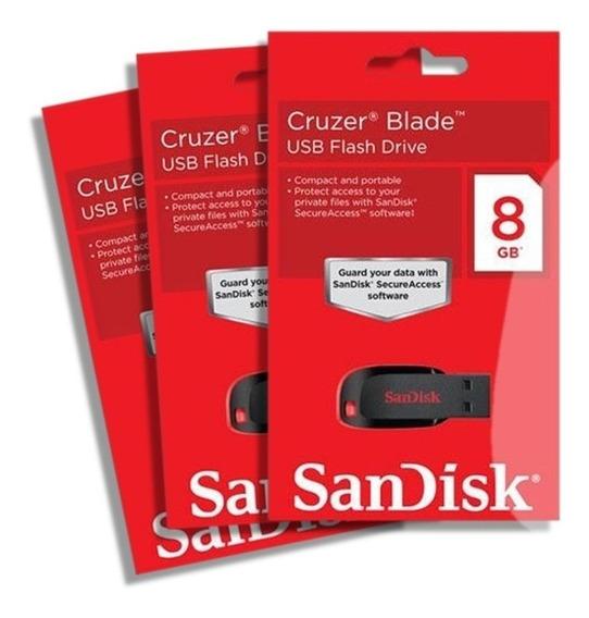 Cartao De Memoria Sandisk 8gb Cruzer Blade Lacrado Original