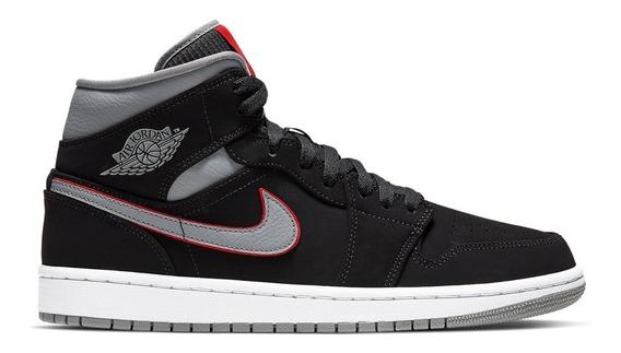 Tenis Nike Jordan 1 Mid Black Particle Grey Jnr O Dama