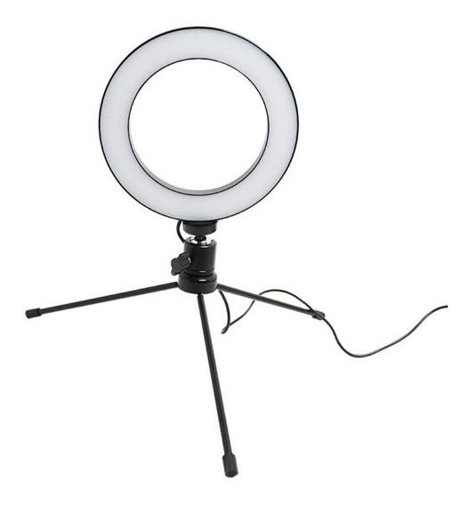 Iluminador Ring Light Luz Led 6 Polegadas 16cm C/ Tripé Mesa