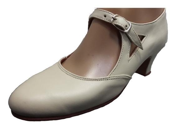 Zapato Folclore Beige Camel Español