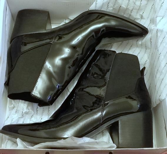 Botas Aldo N 40 Negras De Charol Cuero Zapato Oferta