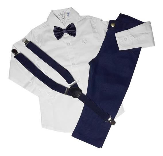 Conjunto Infantil Camisa Calça Azul Marinho Menino Suspensór