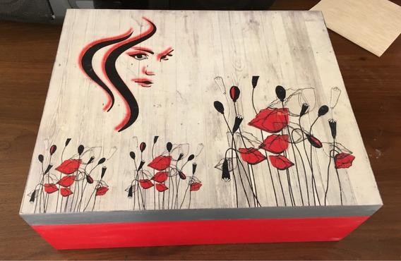 Caja Roja De Madera Para Cosméticos 35x25x12cm