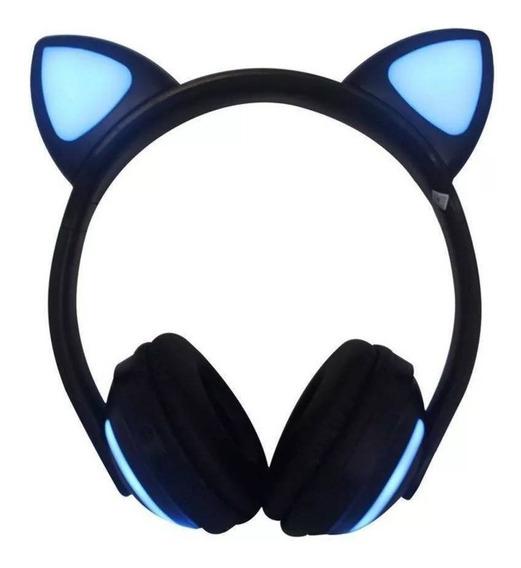 Fone Ouvido Gatinho Bluetooth Headfone Orelha Gato Preto
