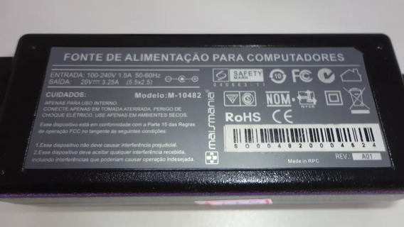 Carregador Fonte Notebook M-10482 20v 3,25a