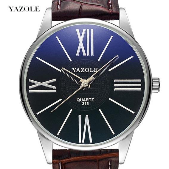 Relógio Masculino Novo Original Couro De Pulso Luxo