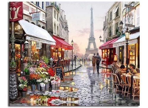 Imagen 1 de 5 de Pinta Por Números Pintura Oleo Paris N Pinturas Pinceles