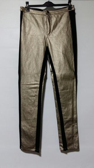 Pantalon Jean Complot T L/ 30 Dorado Y Negro Cuero Eco Ofert