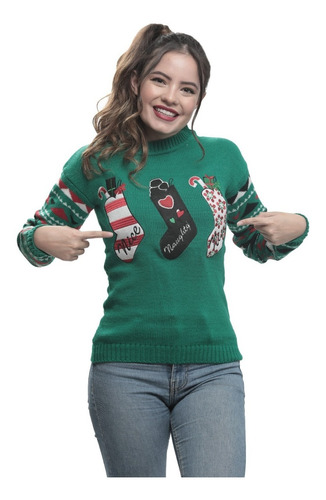 Imagen 1 de 1 de Suéter Ugly Sweater Verde Botas Navideñas Navideño Mujer