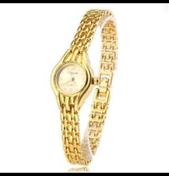 Relógio Quartz Original Importado Folheado À Ouro 18k